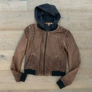 Free People Brown Vegan Leather Hooded Bomber Jckt